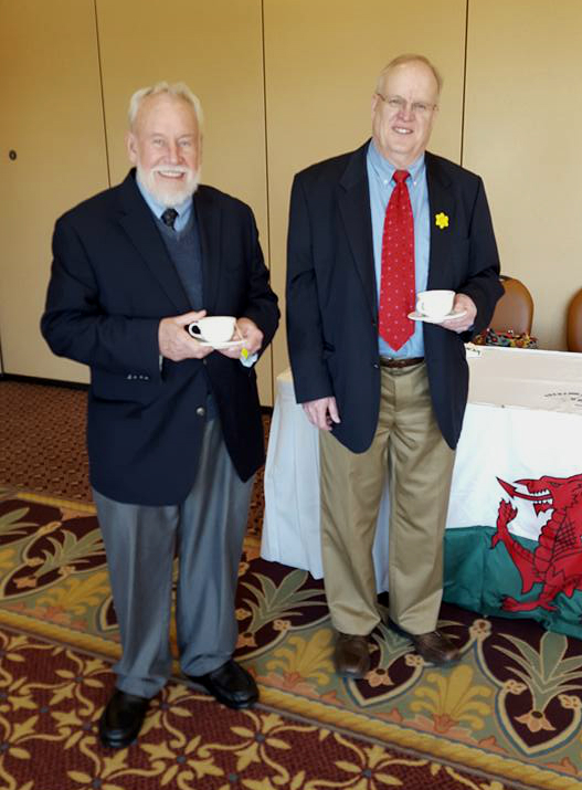 Dr. Lee Pennington, left, and The Welsh Cultural Endeavor of Northeastern Pennsylvania President George Horwatt pose for a photo during an event March 26 at the Irem Temple Country Club, Dallas.